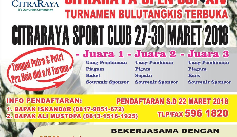 Turnamen Bulutangkis CitraRaya Open Cup XIV Segera Digelar