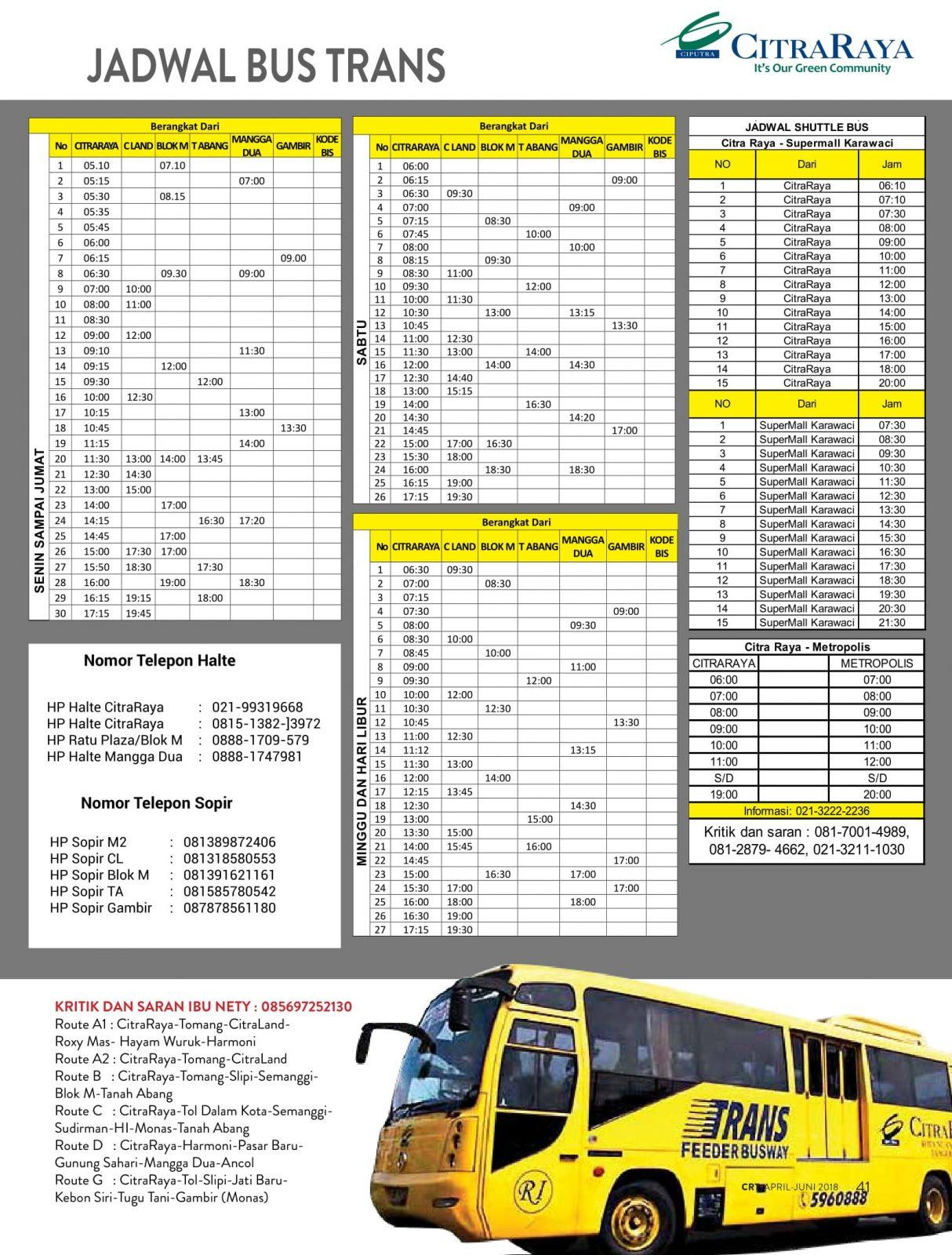 jadwal bus CitraRaya